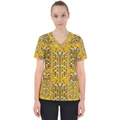 Rain Showers In The Rain Forest Of Bloom And Decorative Liana Scrub Top