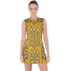 Rain Showers In The Rain Forest Of Bloom And Decorative Liana Lace Up Front Bodycon Dress