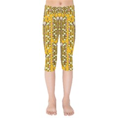 Rain Showers In The Rain Forest Of Bloom And Decorative Liana Kids  Capri Leggings