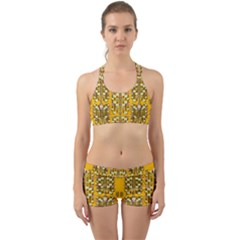 Rain Showers In The Rain Forest Of Bloom And Decorative Liana Back Web Sports Bra Set