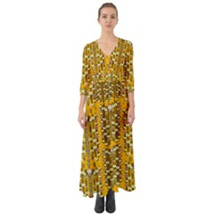 Rain Showers In The Rain Forest Of Bloom And Decorative Liana Button Up Boho Maxi Dress