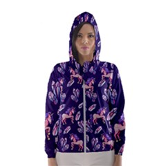 Unicorns Crystals Hooded Wind Breaker (women)