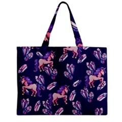 Unicorns Crystals Zipper Medium Tote Bag