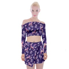 Unicorns Crystals Off Shoulder Top With Mini Skirt Set