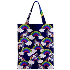 Rainbow Unicorns Zipper Classic Tote Bag