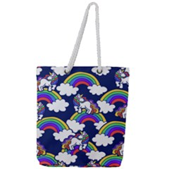 Rainbow Unicorns Full Print Rope Handle Tote (large)