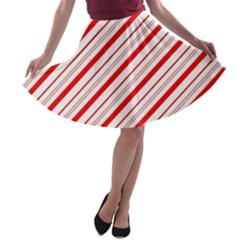 Candy Cane Stripes A Line Skater Skirt