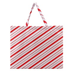 Candy Cane Stripes Zipper Large Tote Bag