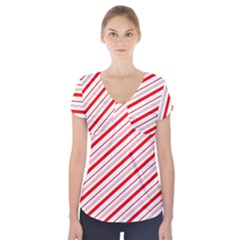 Candy Cane Stripes Short Sleeve Front Detail Top