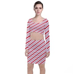 Candy Cane Stripes Long Sleeve Crop Top & Bodycon Skirt Set