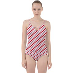 Candy Cane Stripes Cut Out Top Tankini Set
