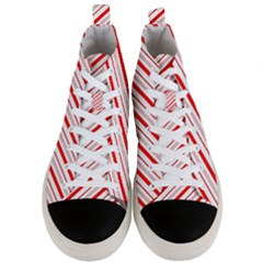 Candy Cane Stripes Men s Mid Top Canvas Sneakers