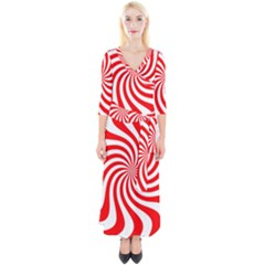 Peppermint Candy Quarter Sleeve Wrap Maxi Dress