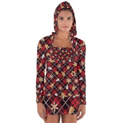 Gingerbread Red Long Sleeve Hooded T Shirt