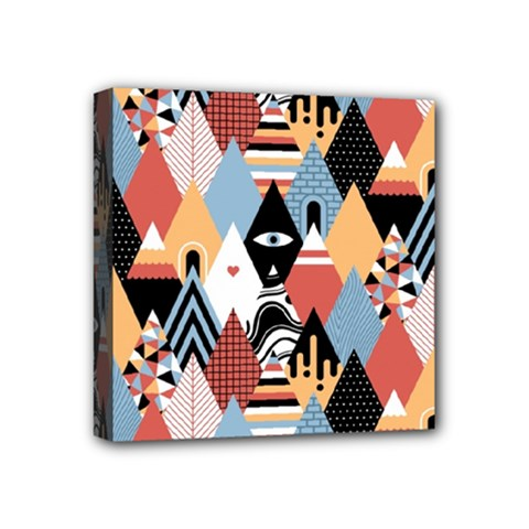 Abstract Diamond Pattern Mini Canvas 4  X 4
