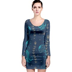 Arabesque Vintage Graphic Nature Long Sleeve Bodycon Dress