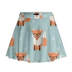 Cute Fox Pattern Mini Flare Skirt
