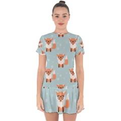 Cute Fox Pattern Drop Hem Mini Chiffon Dress