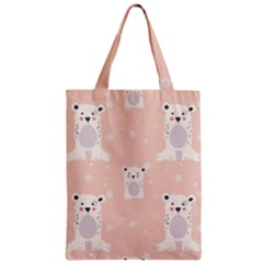Cute Polar Bear Pattern Zipper Classic Tote Bag