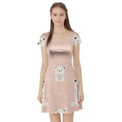Cute Polar Bear Pattern Short Sleeve Skater Dress