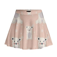 Cute Polar Bear Pattern Mini Flare Skirt