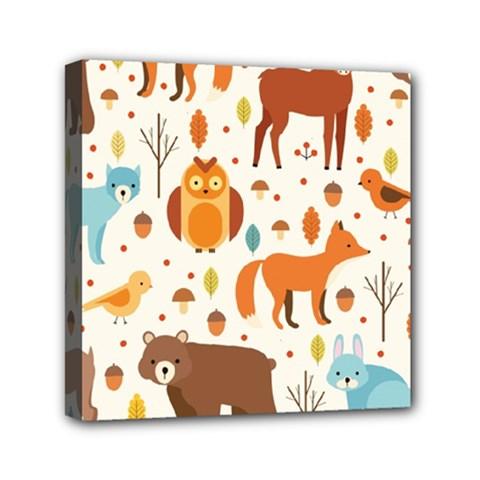 Woodland Friends Pattern Mini Canvas 6  X 6
