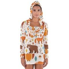 Woodland Friends Pattern Long Sleeve Hooded T Shirt