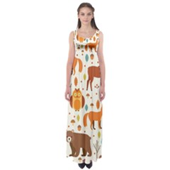 Woodland Friends Pattern Empire Waist Maxi Dress