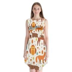 Woodland Friends Pattern Sleeveless Chiffon Dress