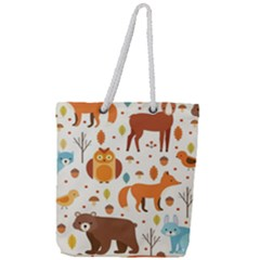 Woodland Friends Pattern Full Print Rope Handle Tote (large)
