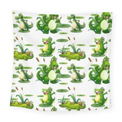 Crocodiles In The Pond Square Tapestry (large)