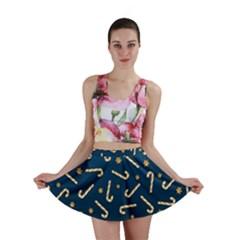 Golden Candycane Blue Mini Skirt