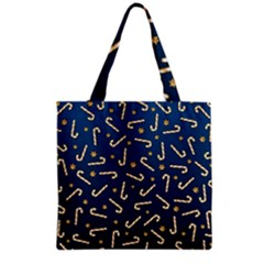 Golden Candycane Blue Grocery Tote Bag
