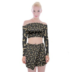 Golden Candycane Dark Off Shoulder Top With Mini Skirt Set