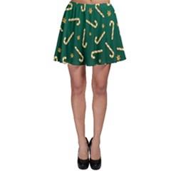 Golden Candycane Green Skater Skirt