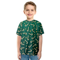 Golden Candycane Green Kids  Sport Mesh Tee
