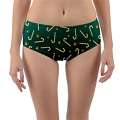 Golden Candycane Green Reversible Mid Waist Bikini Bottoms