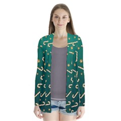 Golden Candycane Green Drape Collar Cardigan