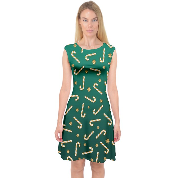 Golden Candycane Green Capsleeve Midi Dress