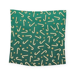 Golden Candycane Green Square Tapestry (small)