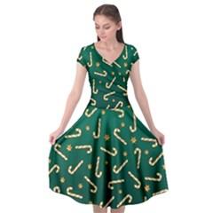 Golden Candycane Green Cap Sleeve Wrap Front Dress