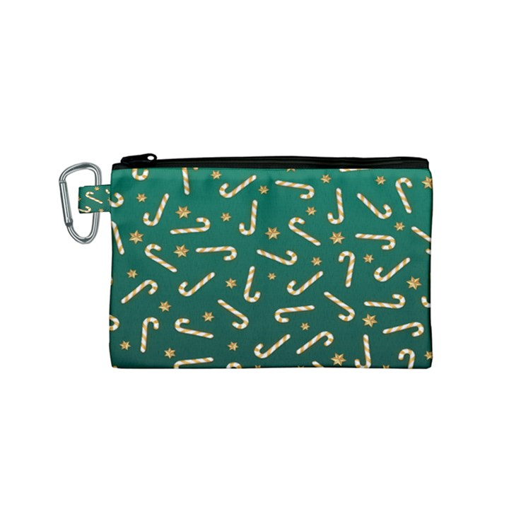 Golden Candycane Green Canvas Cosmetic Bag (Small)