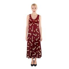 Golden Candycane Red Sleeveless Maxi Dress