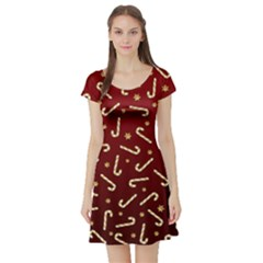 Golden Candycane Red Short Sleeve Skater Dress