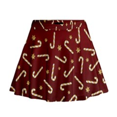 Golden Candycane Red Mini Flare Skirt