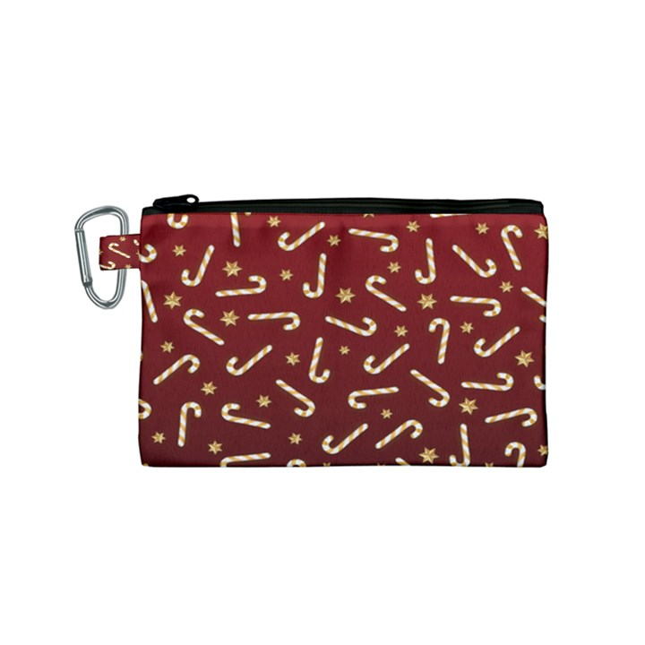 Golden Candycane Red Canvas Cosmetic Bag (Small)