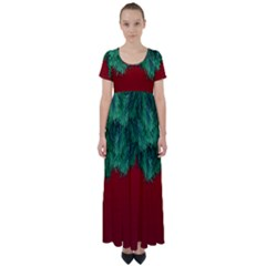 Xmas Tree High Waist Short Sleeve Maxi Dress