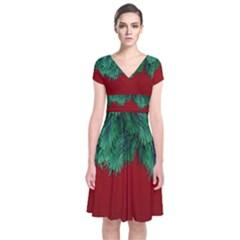 Xmas Tree Short Sleeve Front Wrap Dress