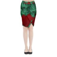 Xmas Tree Midi Wrap Pencil Skirt