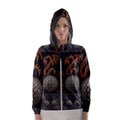 Awesome Tribal Dragon Made Of Metal Hooded Wind Breaker (women)